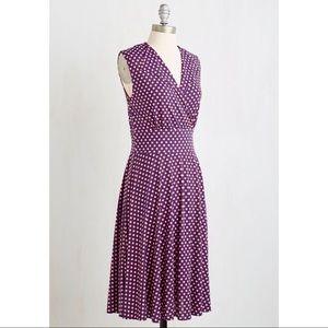 Modcloth Karina Peggy Dot Midi Dress